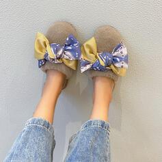 Women's Velvet Flat Heel Slippers With Bowknot shoes