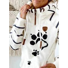 Animal Print Striped Long Sleeves Hoodie