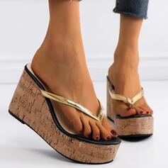 Women's PU Wedge Heel Sandals Peep Toe Flip-Flops Slippers Heels With Splice Color shoes
