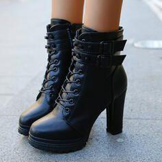 Women's PU Chunky Heel Boots Heels With Zipper Lace-up Solid Color shoes