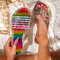 Women's PVC Flat Heel Sandals Peep Toe Slippers With Sparkling Glitter Splice Color shoes