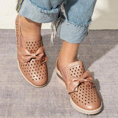 Women's PU Others Flats Round Toe Slip On With Bowknot Hollow-out Solid Color shoes