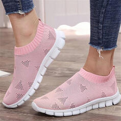 Women's Flying Weave Flat Heel Flats Round Toe Sneakers Slip On With Solid Color shoes