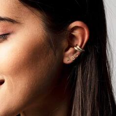 Letter Shining Simple Initial Gold Plated Zircon Copper Women's Earrings 2 PCS