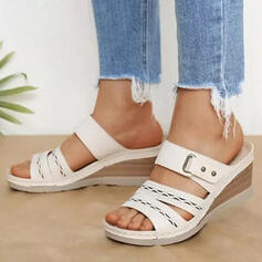 Women's PU Wedge Heel Sandals Peep Toe With Buckle Hollow-out shoes