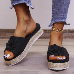 Women's PU Flat Heel Sandals Flats Platform Peep Toe Slippers With Applique Solid Color shoes