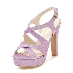 Frauen Funkelnde Glitzer Stämmiger Absatz Sandalen Absatzschuhe Plateauschuh Peep Toe Slingpumps mit Schnalle Schuhe