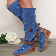 Women's PU Flat Heel Knee High Boots With Buckle shoes