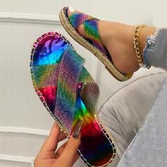 Women's PU Flat Heel Sandals Flats Peep Toe Slippers With Sparkling Glitter Crisscross shoes