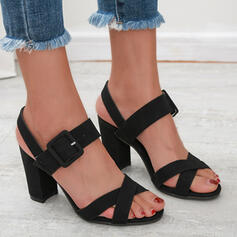 Women's Cloth Chunky Heel Sandals Peep Toe With Buckle Solid Color shoes