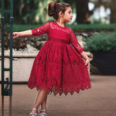 Mädchen Einfarbig Spitze Baumwolle Kleid