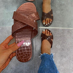 Women's PU Flat Heel Sandals Peep Toe Slippers With Hollow-out Striped shoes