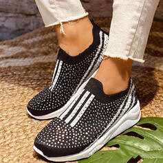 Women's PU Flat Heel Flats Round Toe Slip On With Rhinestone Splice Color shoes