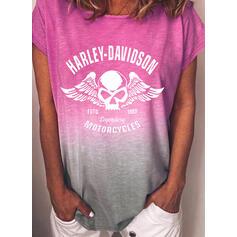 Figure Gradient Print Round Neck Short Sleeves T-shirts