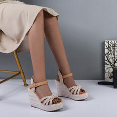 Women's PU Wedge Heel Sandals Wedges Peep Toe Heels Round Toe With Buckle Hollow-out Splice Color shoes