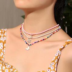 Bunte Boho Geschichtet Legierung Perlen mit Schmetterling Halsketten 3 PCS