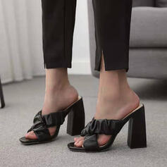 Women's PU Chunky Heel Sandals Peep Toe Heels With Ruched Solid Color shoes