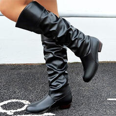 Women's PU Chunky Heel Mid-Calf Boots With Ruched Solid Color shoes