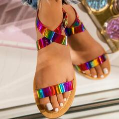 Women's PU Flat Heel Sandals Flats Peep Toe With Sparkling Glitter Crisscross shoes