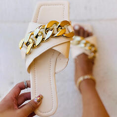 Women's PU Flat Heel Sandals Flats Peep Toe Slippers With Chain Solid Color Crisscross shoes