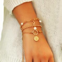 Jahrgang Geschichtet Legierung Faux-Perlen mit Münze Faux-Perlen Armbänder 3 PCS