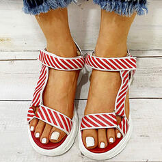 Women's Canvas Flat Heel Sandals Peep Toe With Velcro Solid Color shoes