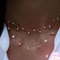 heißeste Sterne Legierung mit Star Mond Schmuck Sets Halsketten 2 STÜCK