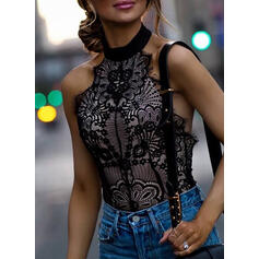 Lace Solid Stand collar Sleeveless Tank Tops