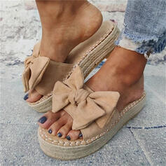 Women's Suede Flat Heel Sandals Peep Toe Slippers With Bowknot Patchwork shoes