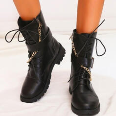 Women's Microfiber Chunky Heel Mid-Calf Boots Martin Boots With Zipper Chain Lace-up shoes
