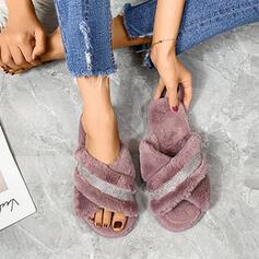 Frauen Veloursleder Flascher Absatz Sandalen mit Strass Andere Einfarbig Schuhe