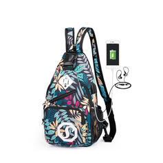 Floral/USB Sling Backpack