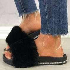 Frauen Kunstleder Funkelnde Glitzer Flascher Absatz Sandalen Plateauschuh Peep Toe Pantoffel mit Strass Pelz Schuhe