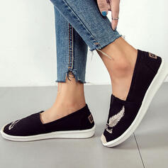 Women's Canvas Flat Heel Flats Low Top Espadrille Slip On With Applique shoes