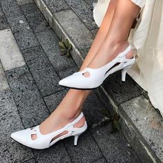 Frauen PU Stöckel Absatz Absatzschuhe Spitze mit Hohl-out Schuhe