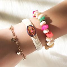 Boho Anhänger Künstlerische Geschichtet Metall mit Zirkon Mond Perlen Armbänder 3 PCS