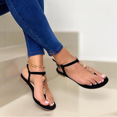 Women's PU Flat Heel Sandals Flip-Flops With Sparkling Glitter Solid Color shoes