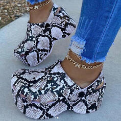 Women's PVC Low Heel Sandals Platform Closed Toe Slippers With Animal Print shoes