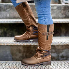 Women's PU Chunky Heel Riding Boots With Buckle Zipper Splice Color shoes