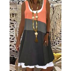 Color Block Sleeveless Shift Knee Length Casual Tank Dresses