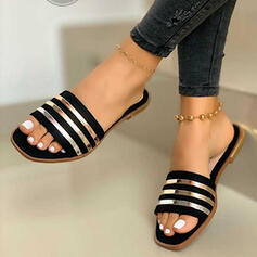 Women's PVC Flat Heel Sandals Flats Peep Toe Slippers With Splice Color shoes