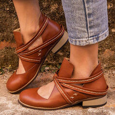 Women's PU Low Heel Flats Boots Ankle Boots Low Top Round Toe With Lace-up Hollow-out Solid Color shoes