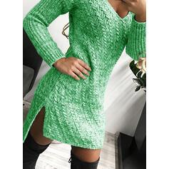 Einfarbig Zopfmuster V-Ausschnitt Freizeit Lang Eng Pulloverkleid