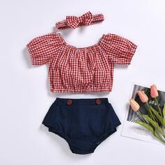 2-pieces Baby Girl Button Plaid Cotton Set