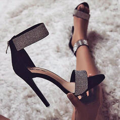 Women's Suede Stiletto Heel Sandals Pumps Peep Toe Pointed Toe With Lace-up shoes