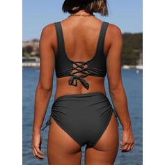 String Ruffles Strap Round Neck Elegant Bikinis Swimsuits