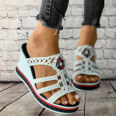 Women's PU Wedge Heel Sandals Slippers With Hollow-out Braided Strap Splice Color shoes