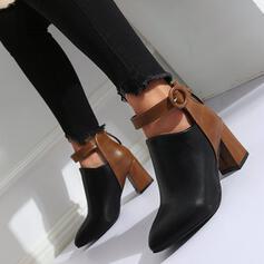 Frauen PU Kegel Absatz Absatzschuhe mit Spleißfarbe Schuhe