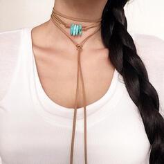 Vintage Elegant Romantic Alloy Turquoise Leather Women's Ladies' Unisex Necklaces