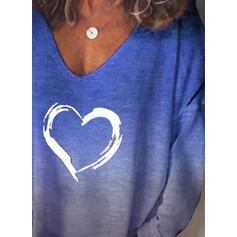 Gradient Heart Print V-Neck Long Sleeves T-shirts